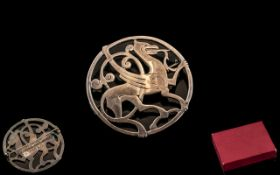 Large Scottish Silver Brooch in the form of a mythical creature,