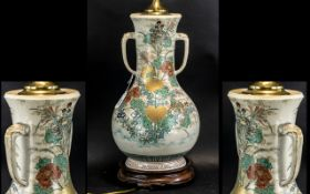 Large Antique Chinese Vase converted to a lamp, hand decorated with flowers and foliage,