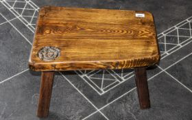 Arts and Crafts Carved Oak Four Legged Milking Type Stool, Carved with a Signature Rose to the Top.