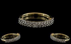 Diamond Half Eternity Ring Set With Two Rows Of Round Brilliant Cut Diamonds,
