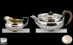 George III - Superb Quality Sterling Silver Teapot and Matching Milk Jug of Solid Construction and