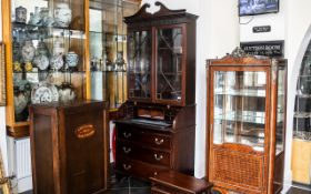 Antique Mahogany Roll Top Bureau Bookcase, the desk area. fitted with a green leather surface.