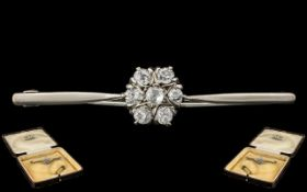 Antique Period - 18ct White Gold Attractive Diamond Set Brooch with Safety Chain. The Central