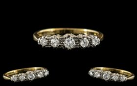 18ct Gold and Platinum 5 Stone Diamond Ring. Marked 18ct and Platinum to Interior of Shank. The