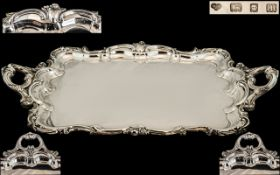 A Large & Impressive Double Handled Robust Silver Serving Tray,