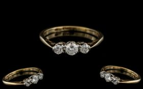 18ct Gold Attractive 3 Stone Diamond Ring. Marked 18ct to Interior of Shank.