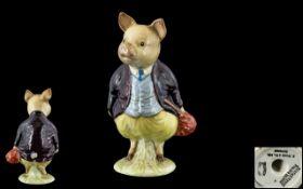 Beswick - Early Beatrix Potter Figure ' Pigling Bland ' ( Deep Maroon Jacket ) BP1A, 1st Variation,