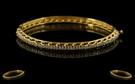 9ct Gold Diamond Set Hinged Bangle The Whole Bangle Set With A Continuous Row Of 106 Round