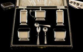 Art Deco Period Superb Sterling Silver ( 8 ) Piece Cruet Set, In Original Box.