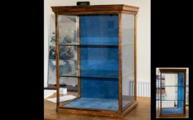 Late Victorian/ Early Edwardian Oak Table Top Shop Display Cabinet with two glass shelves,
