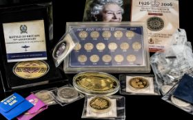 Collection Of Modern Collectable Coins To Include Battle Of Britain 75th Anniversary Five Crowns,