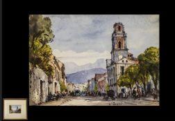 Gabrielle Carelli - Italian Listed Artist 1821-1900, Watercolour of Street Scene in Spanish Town,