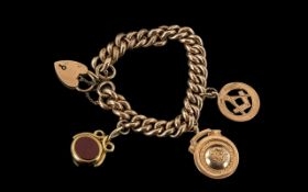Antique Period Attractive 9ct Gold Fancy Curb Bracelet with attached 9ct gold, stone set,