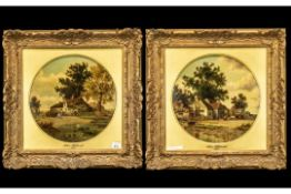 John Holland - Dated 1875 - A Pair of Fine Quality Oil Paintings on Round Panels,