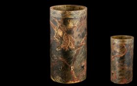 Chinese Bush Pot. Chinese Brush Pot Highly Decorated with Phoenix and Mountains In Releaf. Bottom