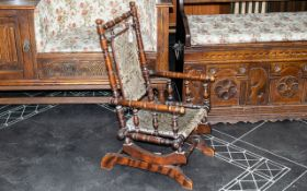Antique Children's Rocking Chair, a late Victorian, mahogany, spindle rocking chair,