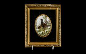 Hand Painted Pheasants on a Porcelain Plaque, the plaque set in a velvet border,
