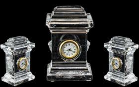 Rosethal Versace Miniature Glass Clock, slight chip to one corner.
