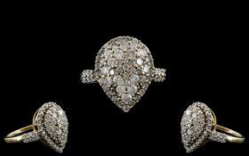 Diamond Cluster Ring Set With Round Modern Brilliant Cut Diamonds, Fully Hallmarked,