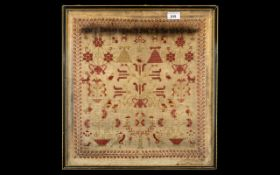 Early Victorian Sampler, dated 1840, decorated with birds, animals and ladies in period dress; 19.