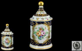 Hand Painted Lidded Jar of nice quality, with floral decoration; no damage or restoration; approx.