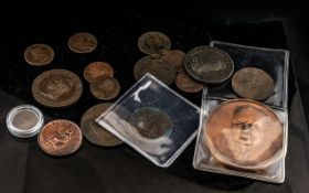 A Collection of 17 Mixed British Copper Coins and Medallions.