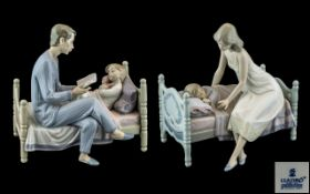 Lladro - Superb Pair of Hand Painted Porcelain Figure Groups.