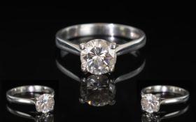 Ladies 18ct Platinum Single Stone Diamond Ring. The Round Brilliant Cut Diamond of Good Grade, Comes