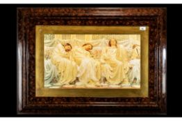 Large Classical Framed Print Depicting 3 Ladies mounted and framed behind glass, After Moore in