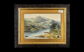 Antique Watercolour River Scene, with a man in a boat and mountains in the background,