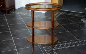 Edwardian Butler's Three Tier Table with removable glass gallery tray to top,