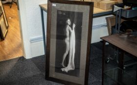 1920s/30s Erotic Print of a Lady, an Art Deco lady in an erotic pose; with period oak frame,