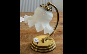 """Edwardian Brass Electric Table Lamp, with an Art Nouveau white satin glass shade. Height 10""""."""