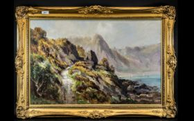 Henry Hadfield Cubley (1858-1934) Oil Painting Torquay coastal mountainous walkway with figure.