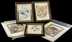 """Collection of Original Watercolour Paintings of Cats, three framed measuring 6"""" x 5"""","""