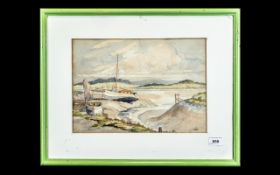 Water Colour Drawing of Skipool Creek, Thornton, by Norman Donnelly. Framed and glazed.