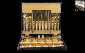 Art Deco Period Excellent Boxed Canteen of Cutlery ( 24 ) Pieces,
