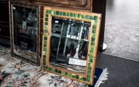 Large Bevelled Glass Mirror, in wooden frame set with green square tiled decoration.