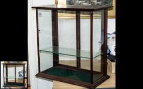 Early 20th Century Table Top Display Cabinet, wooden shop cabinet with sliding glass panels to back,