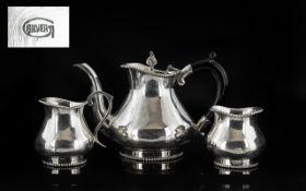Indian Silver Bachelors ( 3 ) Piece Silver Tea-Service. Comprises Teapot, Milk Jug & Sugar Bowl.
