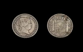Isabela Porlag 20 Reales Trade Coin, dated 1859. Fine condition.