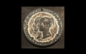Victorian Silvered Double Headed Medallion -Liverpool July 30th 1846. 1.3/4 Inches Diameter.