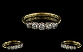 18ct Gold Attractive 5 Stone Diamond Set Ring. Marked 18ct to Interior of Shank.