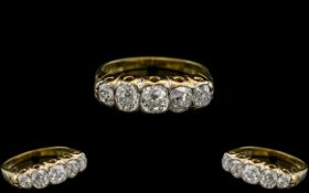 Antique Period 18ct Gold - Excellent Quality 5 Stone Diamond Set Ring, In a Gallery Setting.