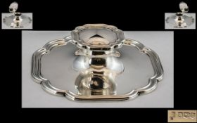 Superb Quality Sterling Silver Capstan - Desk Inkwell of Shaped Square Form.