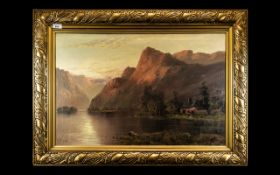 Victorian Oil on Canvas depicting mountainous landscape and cottage.