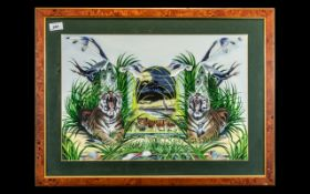 Attributed to Michele Kortbawi Wilk: Wonderful Original Oil Painting of Tigers Amidst Reeds and