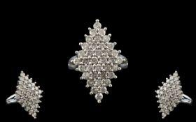 Diamond Cluster Ring Set With 36 Round Modern Brilliant Cut Diamonds, Fully Hallmarked,