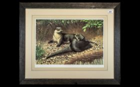Adrian Rigby: Large Signed Print of Otters Playing on a Riverbank, signed in pencil, bottom right,
