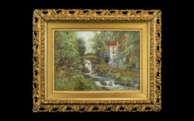 """Oil on Canvas Watermill in Countryside. Monogrammed WM. Measures 9.5"""" x 13."""